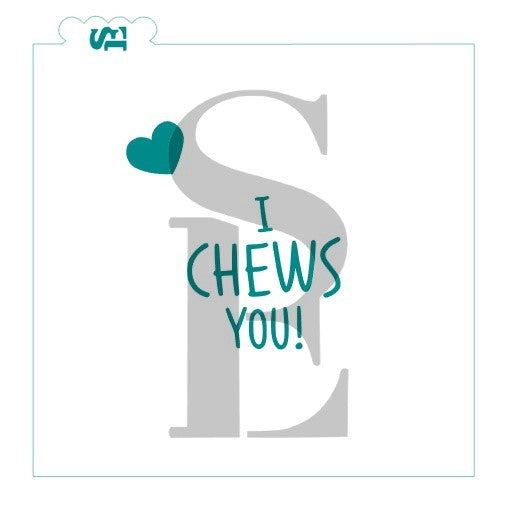 "Valentine's Gumball Machine PYO & ""I Chews You!"" Bundle Digital Design Cookie Stencil"