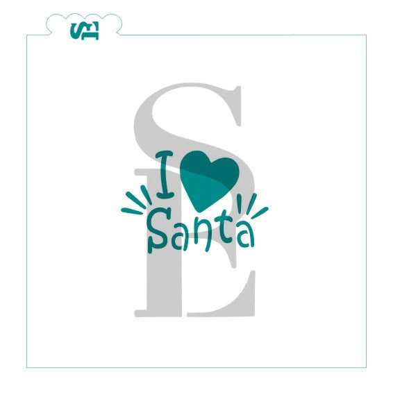 I Love Heart Santa Digital Desgin