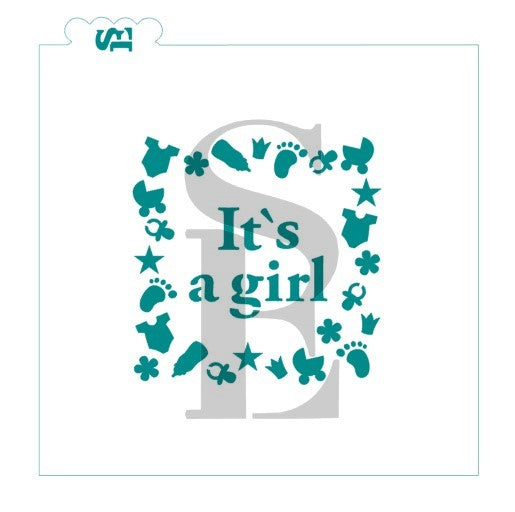 It's A Girl Baby Stencil for Cookies, Cakes & Culinary