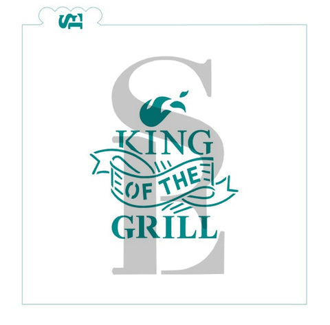 King of the Grill #2 Digital Design Cookie Stencil