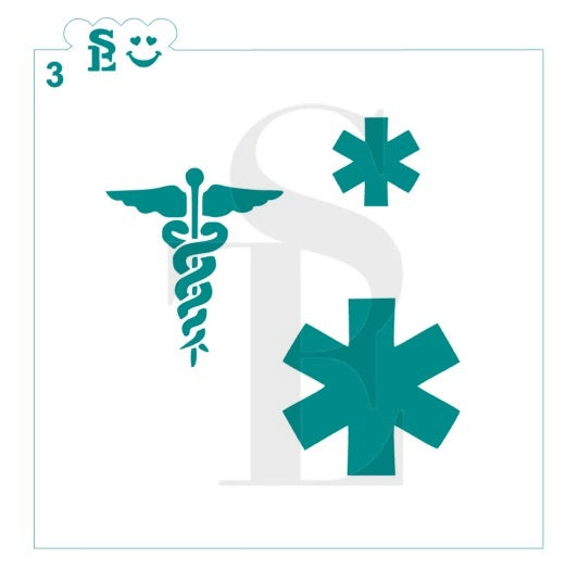 Medical Symbols #3, Caduceus Emergency Stencil for Cookies, Cakes & Culinary