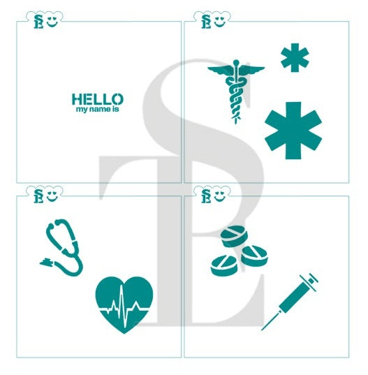 Medical Symbols Set and Hello My Name Is Stencil Bundle for Cookies, Cakes & Culinary