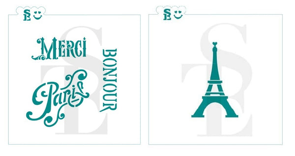 Eiffel Tower & French Sentiments Stencil Bundle for Cookies, Cakes & Culinary