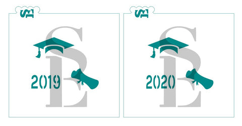 2019 or 2020 Graduation Cap Scroll Mini Stencil for Cookies, Cakes & Culinary
