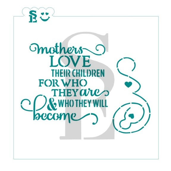 Mother's Love & Baby Modern Art Stencil for Cookies, Cakes & Culinary