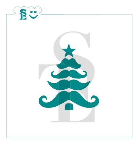 Moustache Christmas Tree Stencil for Cookies, Cakes & Culinary