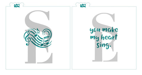 You Make My Heart Sing Sentiment and Music Notes Swirl Bundle of 2 Stencils for Cookies, Cakes, Culinary