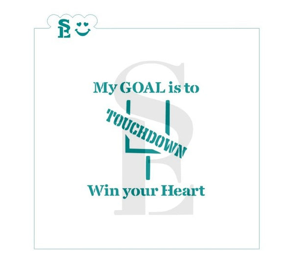 My Goal Is To Win Your Heart Goal Post, One or Two-Step Options Stencil for Cookies, Cakes & Culinary