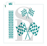 Checkered Auto Racing Flag and Race Car Tire Tracks Digital Design Bundle of 2