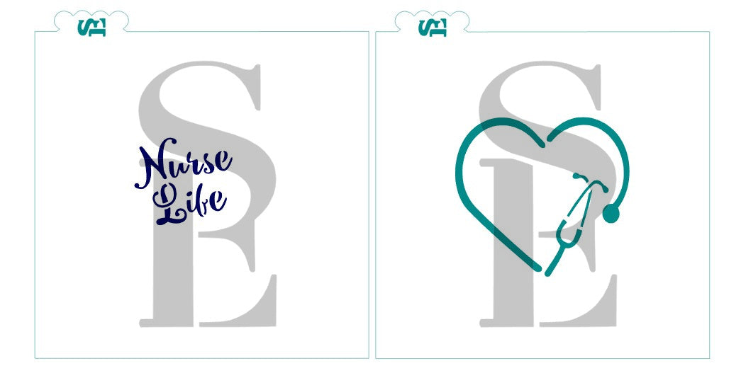 Nurse Life Heart, Single and Layered Digital Design Cookie Stencil