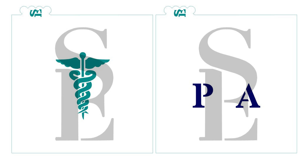Medical Caduceus MD RN NP PA RM, Single and Layered Digital Design Cookie Stencil
