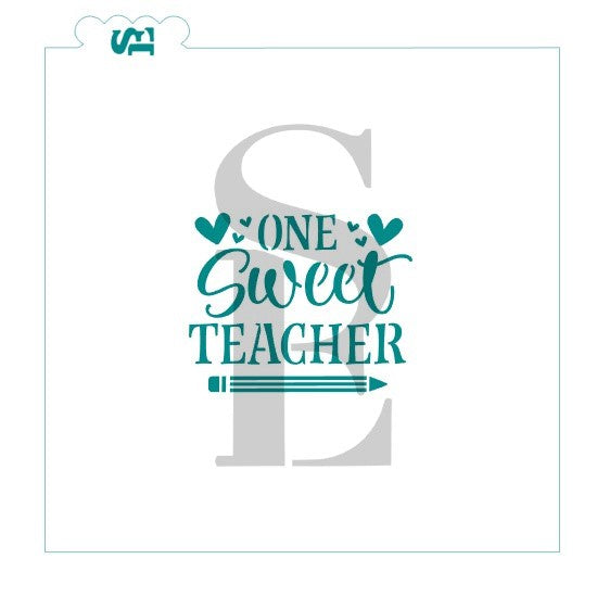 One Sweet Teacher with bonus Pencil Cookie Stick Stencil for Cookies, Cakes & Culinary