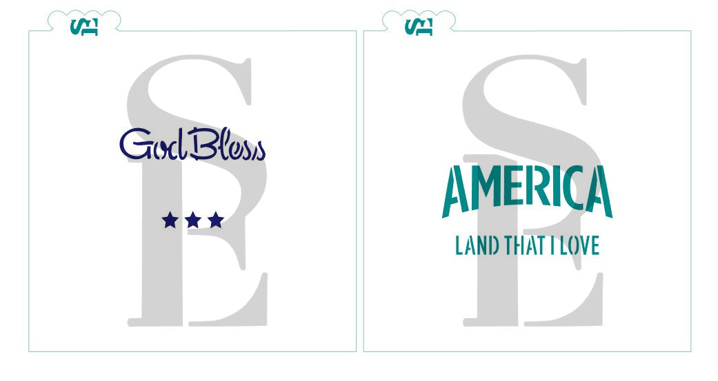 God Bless America - Land That I Love, Single and Layered Digital Design Cookie Stencil