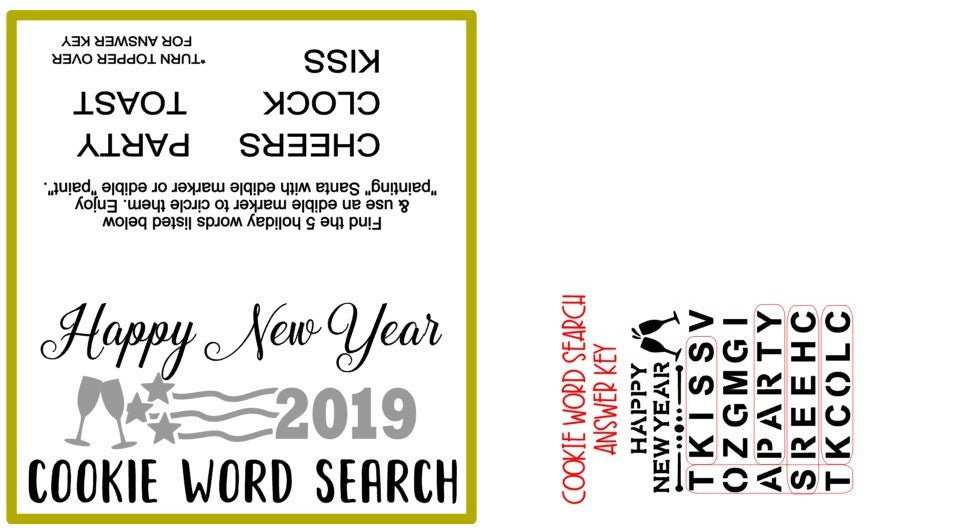 New Year's Word Search PYO Stencil w/ Bonus Bag Topper & Answer Key Digital Design Cookie Stencil