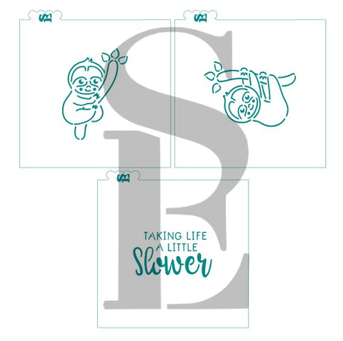 PYO Sloth Bundle #1, #2  and Taking Life Slow Sentiment Digital Design Cookie Stencil