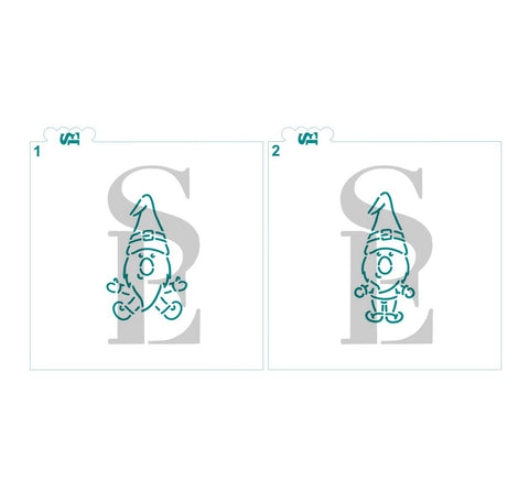Gnome #1 and 2 PYO Digital Design Cookie Stencil