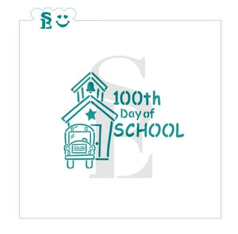 100 Days  - School House and Bus PYO Stencil for Cookies, Cakes & Culinary