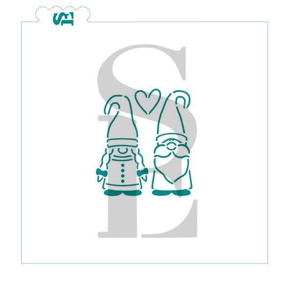 Gnome Couple PYO Digital Design Cookie Stencil