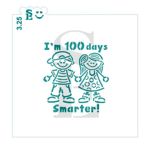 100 Days - I'm 100 Days Smarter Girl and Boy PYO Stencil for Cookies, Cakes & Culinary