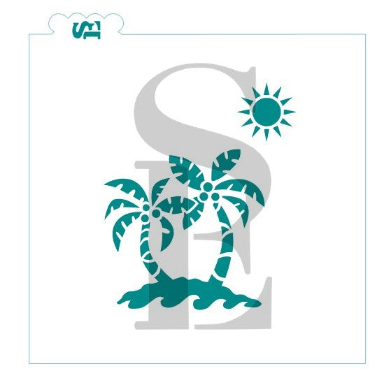Palm Trees Island Stencil for Cookies, Cakes & Culinary