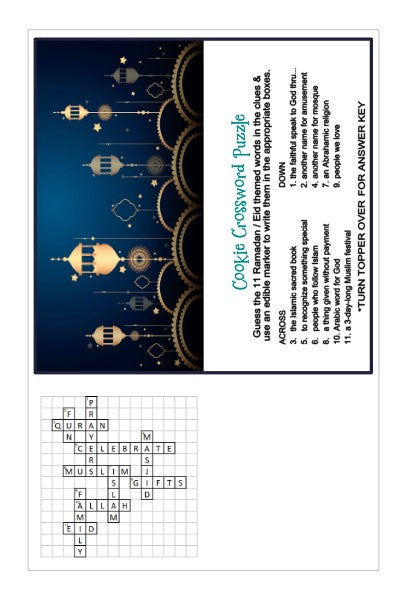 Ramadan / Eid Interactive Crossword Puzzle w/ Bonus Bag Topper & Answer Key Digital Design Cookie Stencil