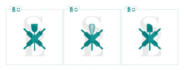 Rolling Pin, Spatula, Whisk and Rubber Spatula Stencil Bundle for Cookies, Cakes & Culinary