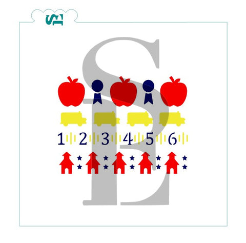 School Icons, School Apple Ruler Ribbon Bus, Stencil for Cookies, Cakes & Culinary
