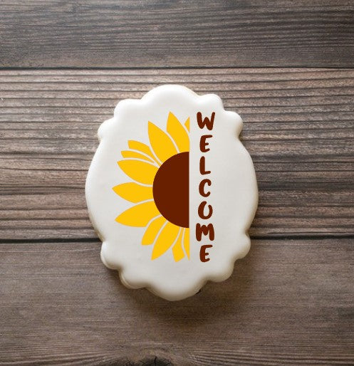Welcome Vertical Sentiment with Sunflower Digital Design
