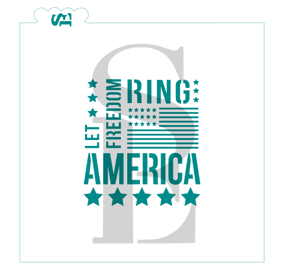 America Let Freedom Ring Subway Art Digital Design Cookie Stencil