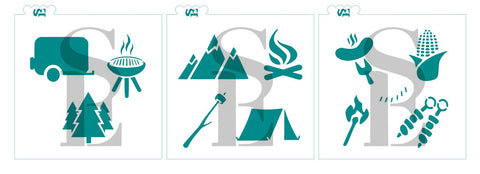 Camping and BBQ Bundle Digital Design cookie stencil