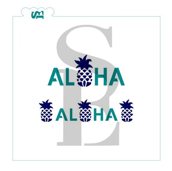 Aloha With Pineapple Digital Design Cookie Stencil