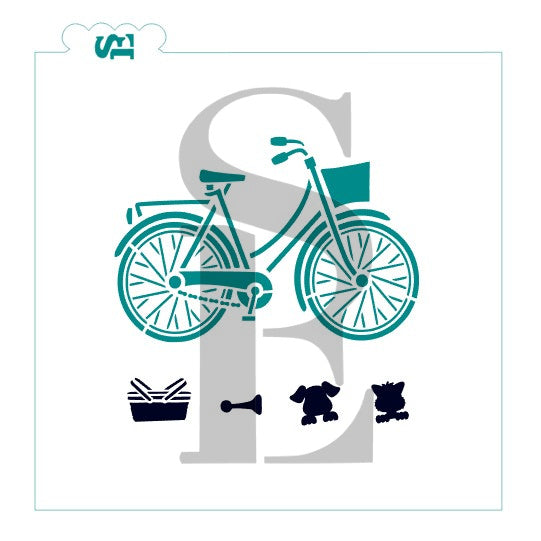Bicycle, Build Your Own Bike with Accessories Stencil for Cookies, Cakes & Culinary
