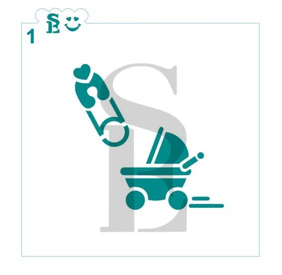 Baby Icon #1, Diaper Pin & Carriage Stencil for Cookies, Cakes & Culinary