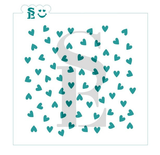 Scattered Mini Hearts Background Stencil for Cookies, Cakes & Culinary