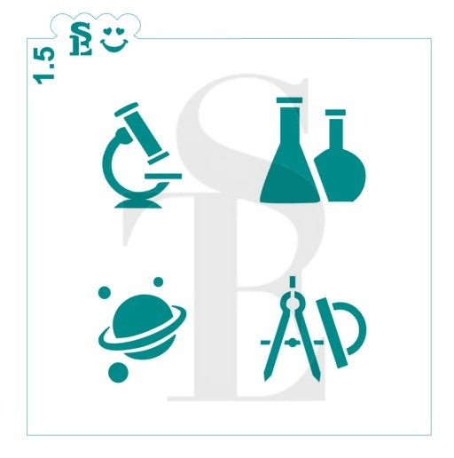School Math, Science Teacher Equipment Minis Stencil for Cookies, Cakes & Culinary
