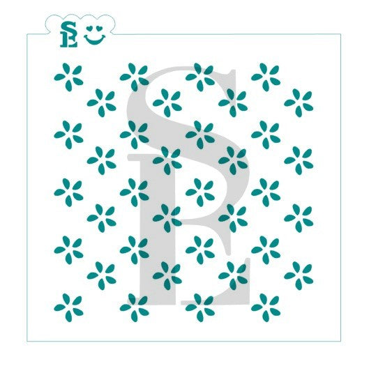 Simple Floral Background Stencil for Cookies, Cakes & Culinary