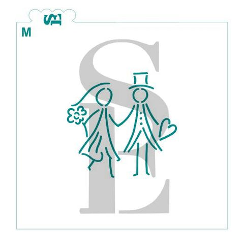 Wedding Couple Stick Figures Stencil for Cookies, Cakes & Culinary