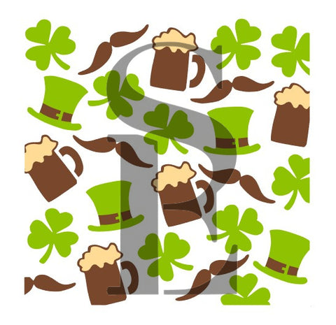 St. Patrick's Day Icons Background Stencil for Cookies, Cakes *Digital Download