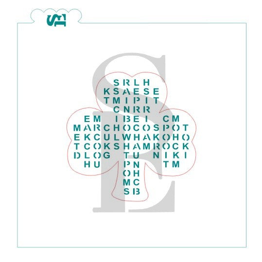 St. Patrick's Day Word Search Stencil w/ Bonus Bag Topper & Answer Key for Cookies, Culinary