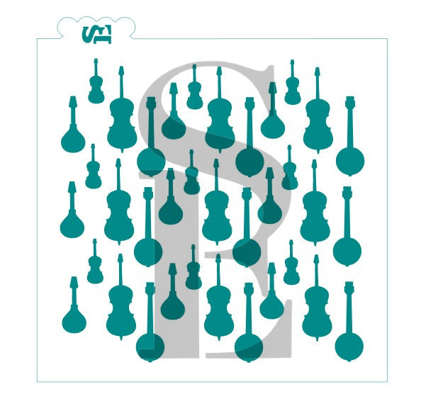 Stringed Instruments Background Stencil for Cookies, Cakes & Culinary