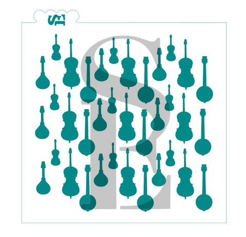 Stringed Instruments Background Stencil for Cookies, Cakes & Culinary *Digital Download