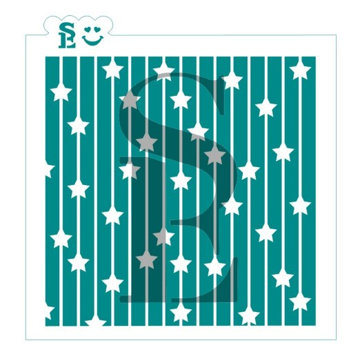Striped Stars Background Stencil for Cookies, Cakes & Culinary