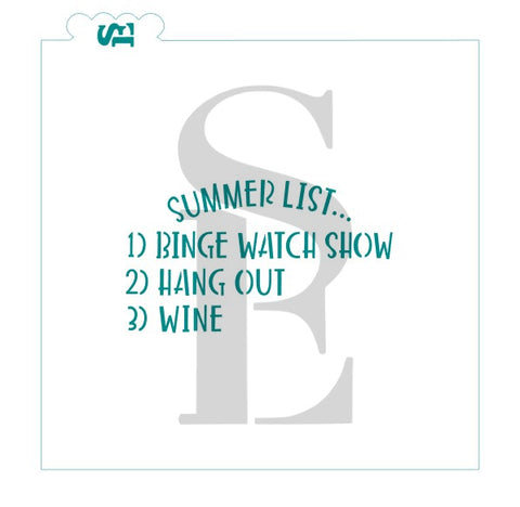 Summer List: Binge Watch, Hang Out, Wine Stencil for Cookies, Cakes & Culinary