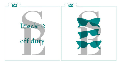 Teacher Off Duty, Sunglasses Value Stencil Set: Men and Women Styles including Cat Eye and Glam for Cookies, Cakes & Culinary
