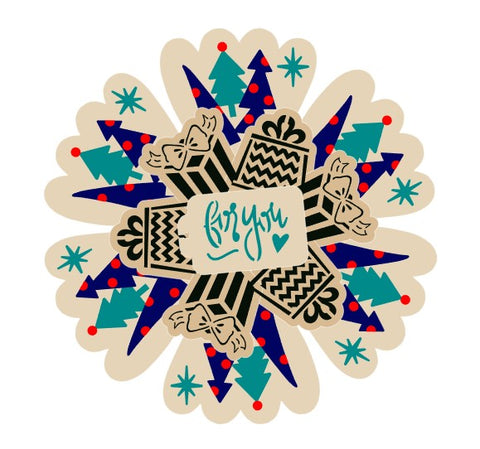 Boho Christmas Trees and Gifts Cookie Platter Stencil 6 Piece Set for Cookies, Cakes & Culinary