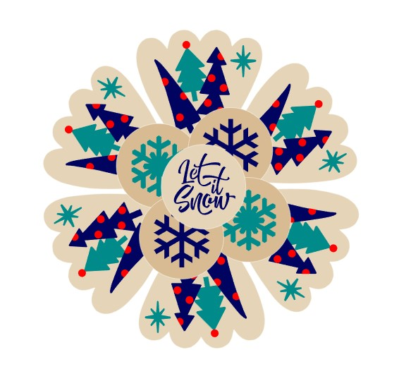 Boho Trees and Snowflakes Platter 5 Pc Stencil Set for Cookies, Cakes & Culinary
