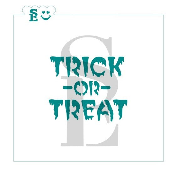 Trick or Treat Sentiment in Bloody Font Stencil for Cookies, Cakes & Culinary