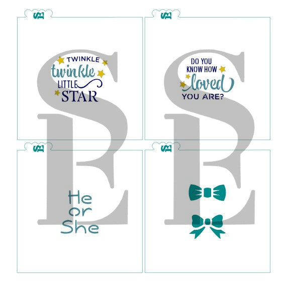 Twinkle Twinkle Little Star Baby Platter 4 pc Stencil Set for Cookies, Cakes & Culinary