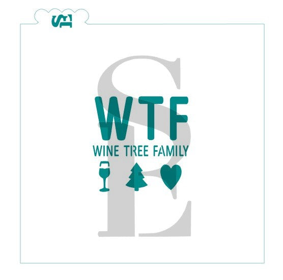 Wine, Tree, Family Christmas Sentiment Digital Design
