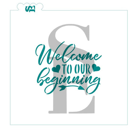 Welcome To Our Beginning Stencil for Cookies, Cakes & Culinary